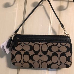 Coach signature double zip wallet